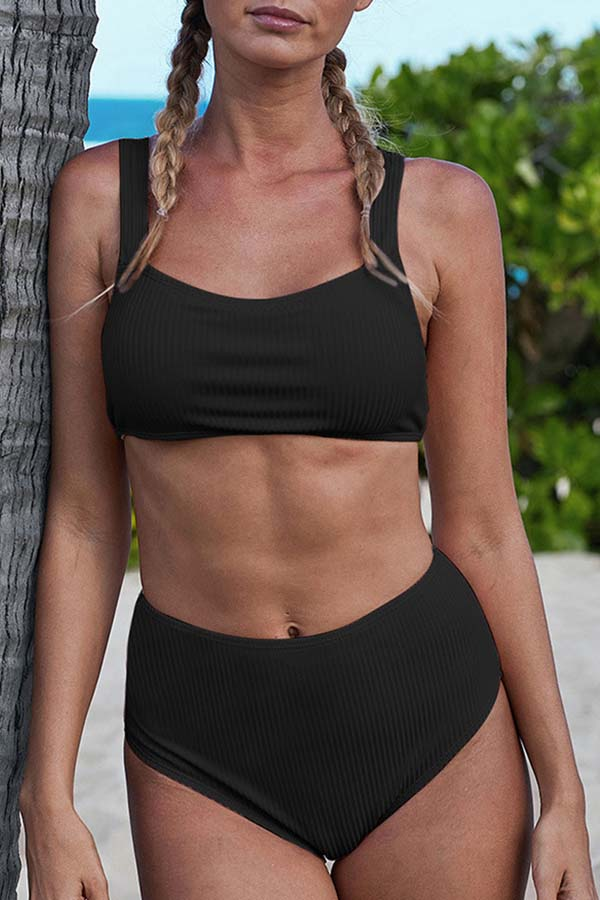 Lovely Basic Black Two-piece Swimsuit