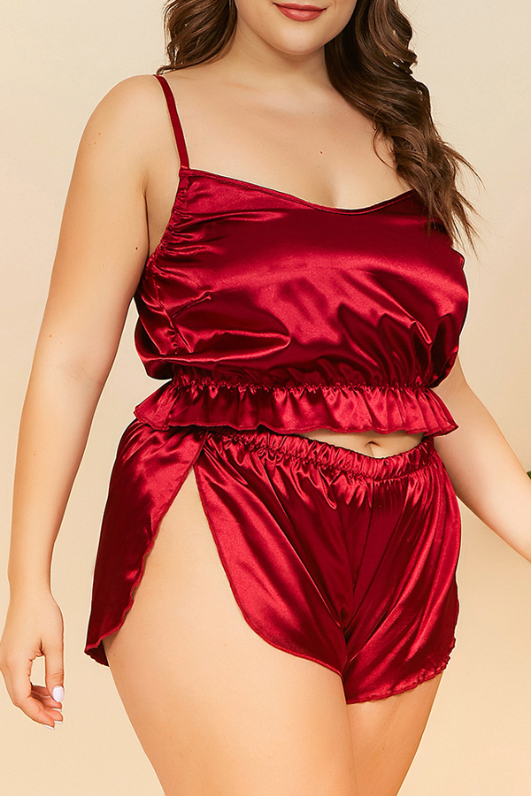 Lovely Stylish Flounce Design Purplish Red Plus Size Sleepwear
