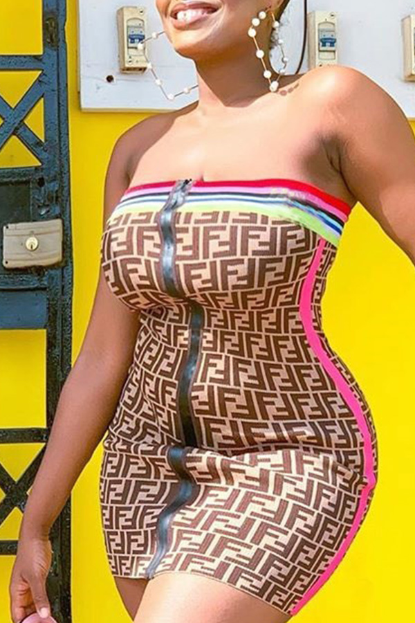 Lovely Trendy Dew Shoulder Print Coffee Mini Dress