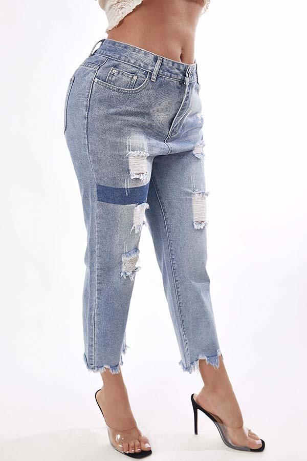 Lovely Trendy Broken Holes Blue Jeans