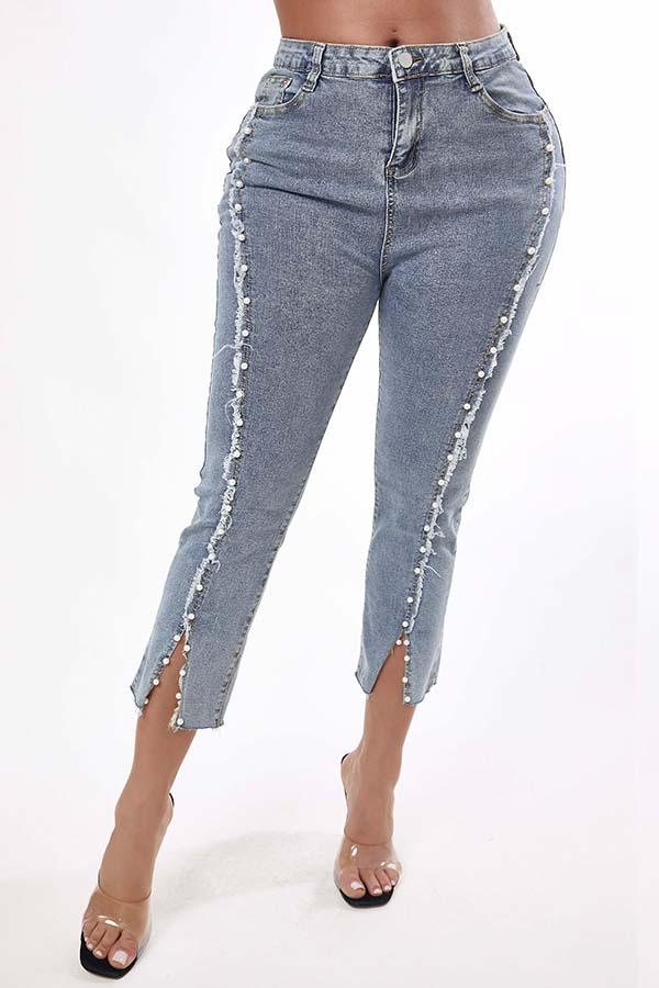 Lovely Trendy Nail Bead Design Blue Jeans