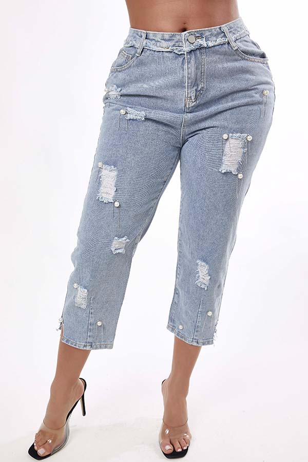 Lovely Casual Broken Holes Blue Jeans