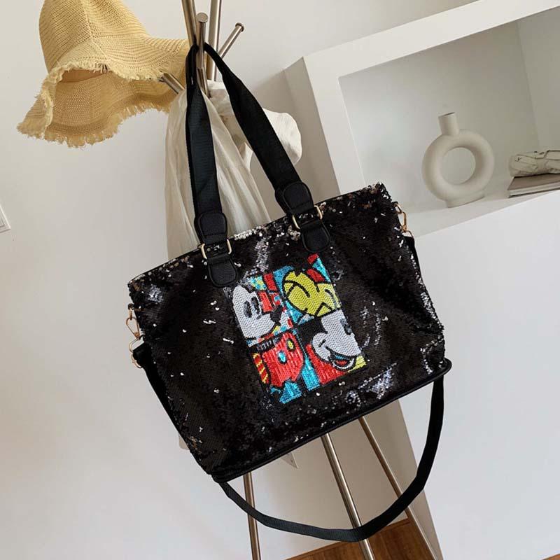 Lovely Casual Print Black Messenger Bag
