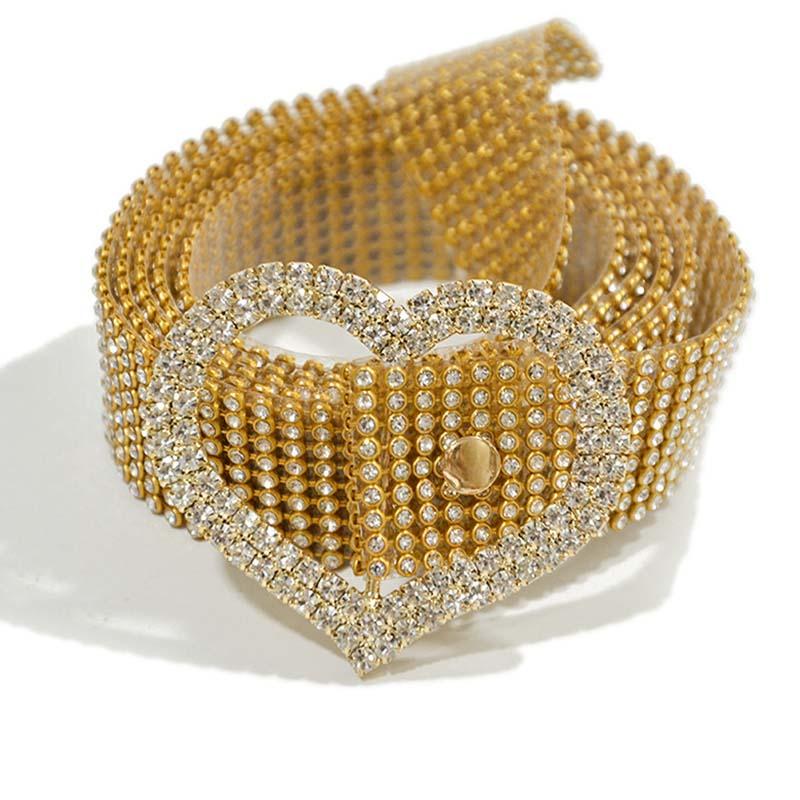 Lovely Trendy Rhinestone Decorative Gold Belt