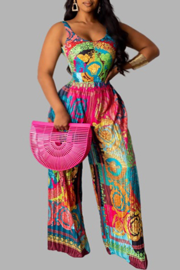 Lovely Trendy Print Multicolor Plus Size One-piece Jumpsuit