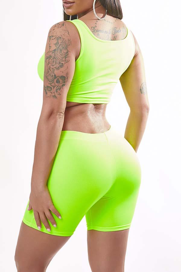 Lovely Sportswear Basic Green Two-piece Shorts Set