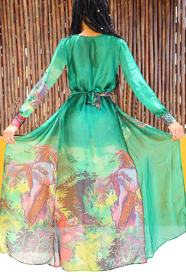 Lovely Print Green Two-piece Swimsuit(With Cover-Up)