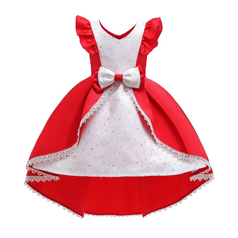 Lovely Sweet Patchwork Red Girl Knee Length Dress