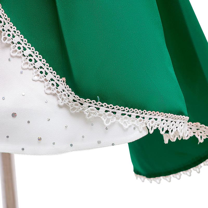 Lovely Sweet Patchwork Green Girl Knee Length Dress