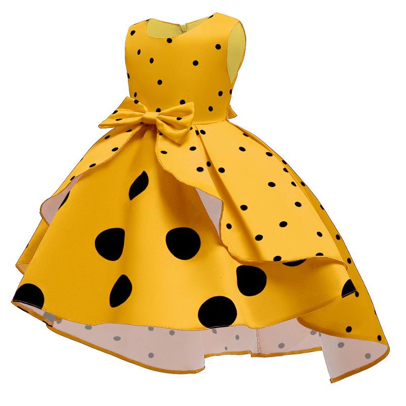 Lovely Sweet Dot Print Yellow Girl Knee Length Dress