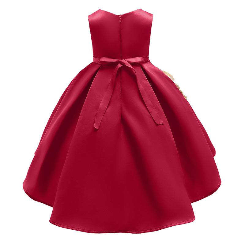 Lovely Trendy Patchwork Wine Red Girl Knee Length Dress