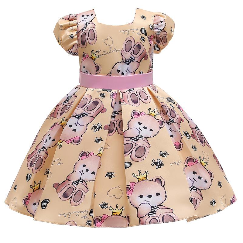 Lovely Stylish Cartoon Print Yellow Girl Knee Length Dress