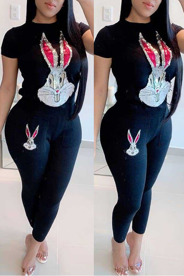 Lovely Leisure Rabbit Black Two-piece Pants Set