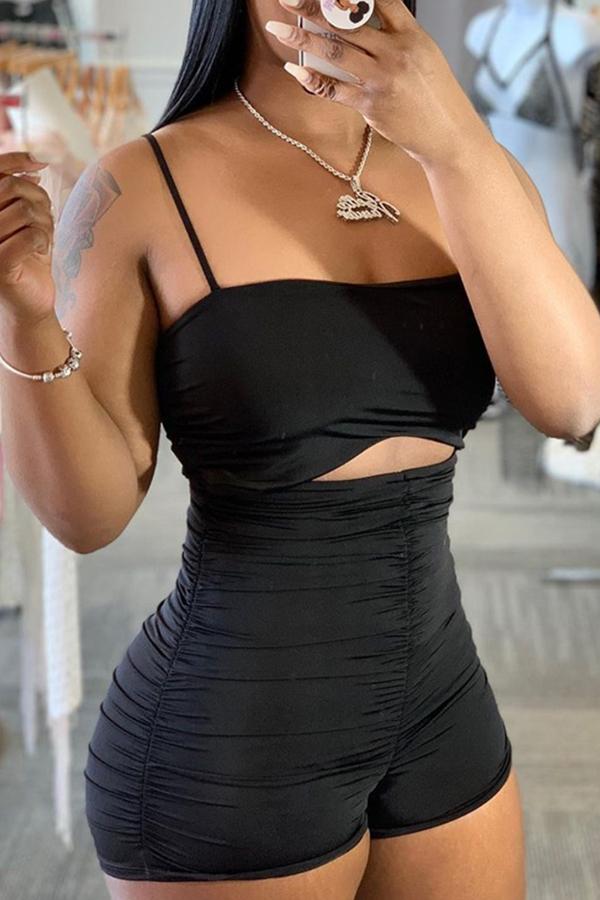 Lovely Trendy Fold Design Black One-piece Romper