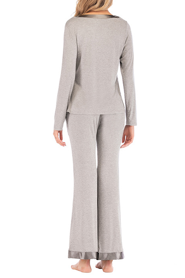 Lovely Leisure Patchwork Grey One-piece Jumpsuit