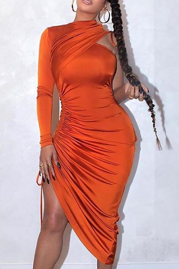 LW Trendy One Shoulder Fold Design Prom Dress