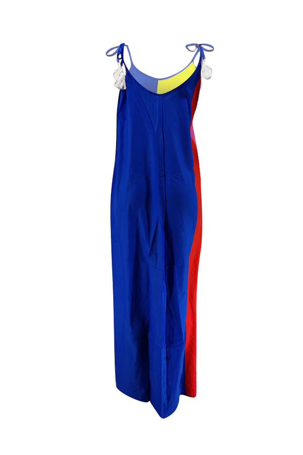 Lovely Casual Rainbow Striped Blue Maxi Dress