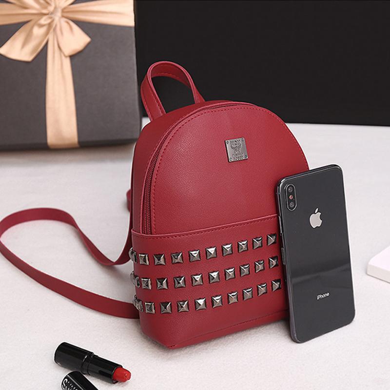 Lovely Trendy Rivet Decorative Red Backpack