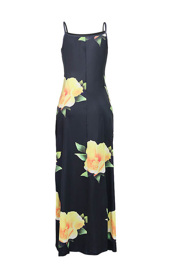 Lovely Trendy Print Yellow Maxi Dress