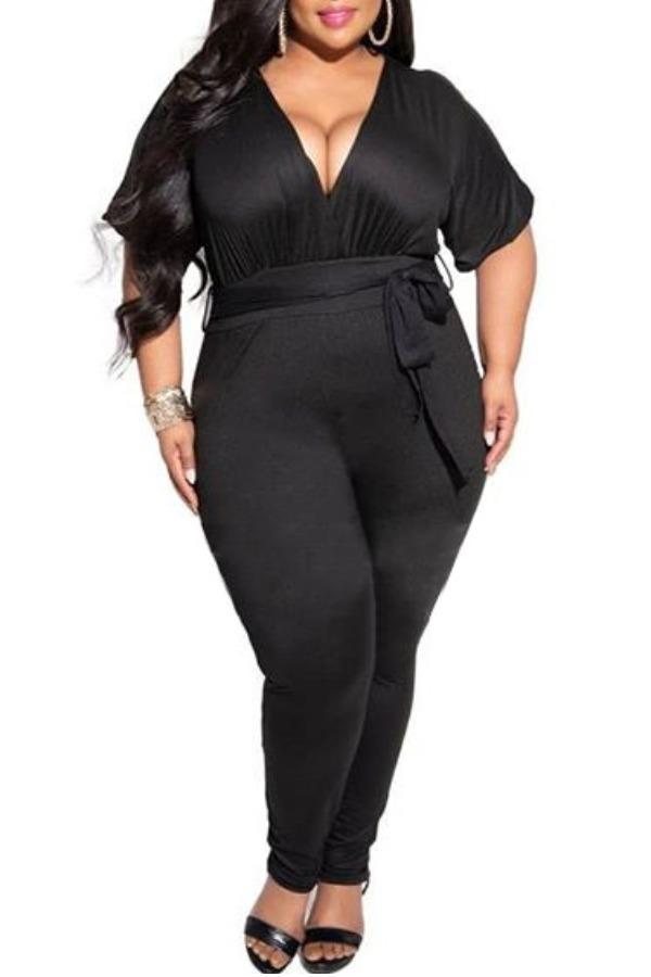 Plus Size Jumpsuit Lovely Leisure Deep V Neck Black Plus Size One-piece Jumpsuit фото