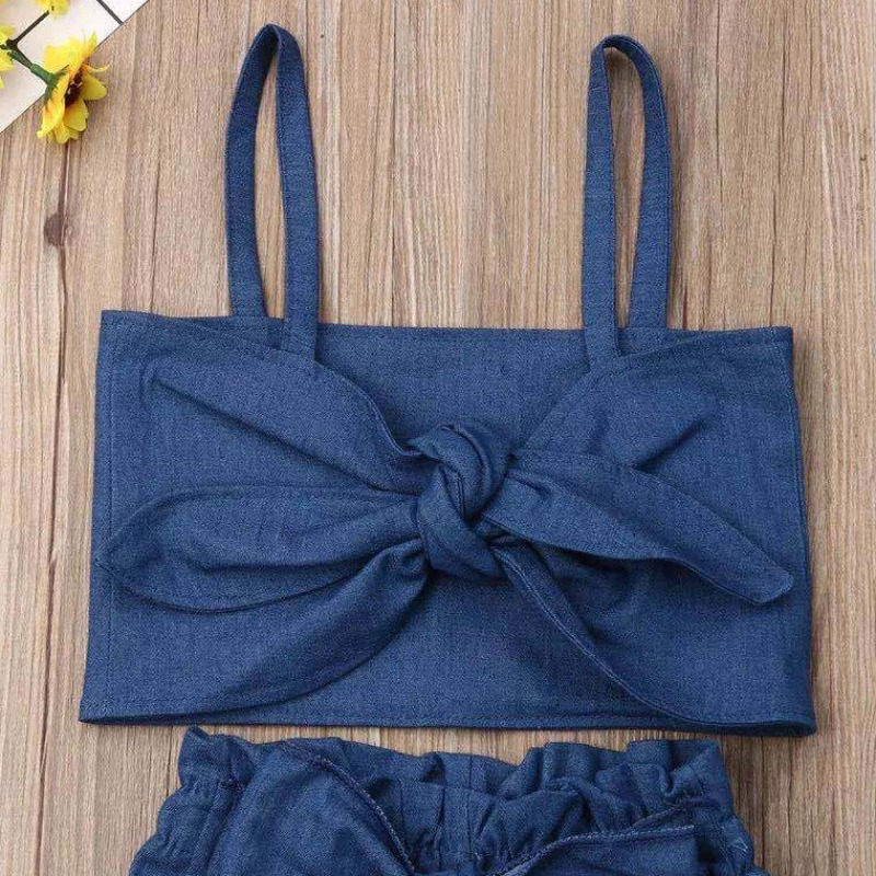 Lovely Stylish Bow-Tie Deep Blue Girl Two-piece Pants Set
