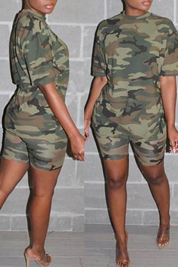 Lovely Casual Print Army Green Two-piece Shorts Set