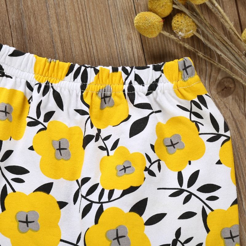 Lovely Stylish Letter Print Yellow Girl Two-piece Pants Set