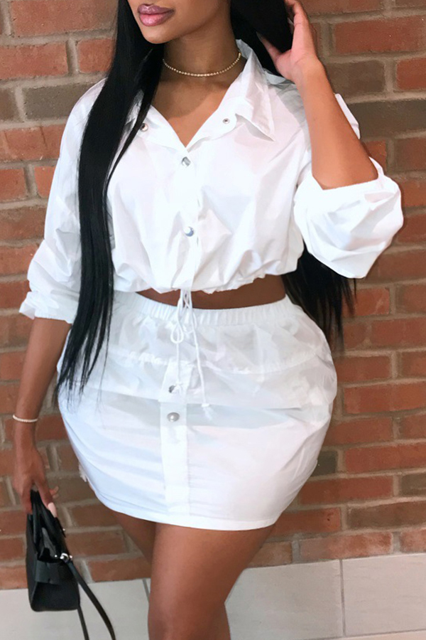 Lovely Trendy Buttons Design White Plus Size Two-piece Skirt Set фото