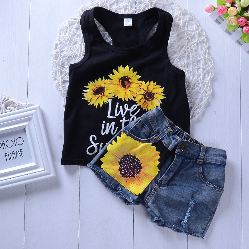 Girls Two-piece Shorts Set Lovely Casual Print Black Girl Two-piece Shorts Set фото