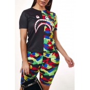 Lovely Street Patchwork Black Two-piece Shorts Set