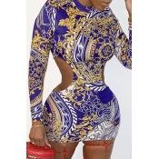 Lovely Trendy Print Blue Mini Dress