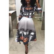 Lovely Trendy Print Black Two-piece Skirt Set