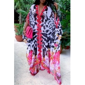 Lovely Bohemian V Neck Print Multicolor Maxi Dress