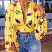 Lovely Trendy Deep V Neck Print Yellow Blouse
