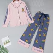 Lovely Sweet Print Purple Sleepwear