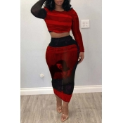Lovely Trendy Print Red Two-piece Skirt Set