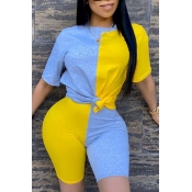 Lovely Casual O Neck Patchwork Yellow Two-piece Sh