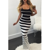 Lovely Sexy U Neck Striped Black Maxi Dress