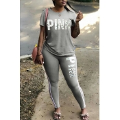 Lovely Sportswear Letter Print Grey Two-piece Pant