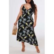 Lovely Bohemian Pineapple Print Black Ankle Length