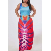 Lovely Casual Print Red Maxi Plus Size Dress