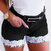 Lovely Casual Lace Patchwork Black Shorts