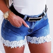 Lovely Casual Lace Patchwork Blue Shorts