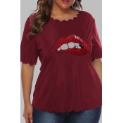 Lovely Casual O Neck Lip Print Red Plus Size T-shi