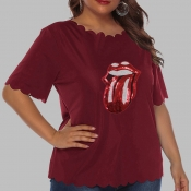 Lovely Casual O Neck Lip Red Plus Size T-shirt