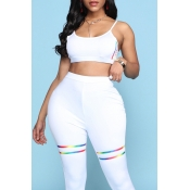 Lovely Sportswear High-waisted White Two-piece Pan