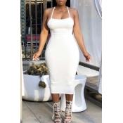 Lovely Sexy Basic Skinny White Mid Calf Dress