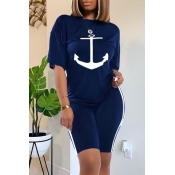 Lovely Casual O Neck Print Deep Blue Two-piece Shorts Set