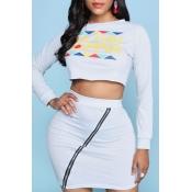 Lovely Trendy Zipper Design Grey Two-piece Skirt S