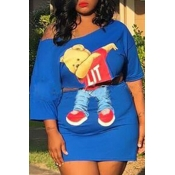 Lovely Casual Cartoon Print Blue Plus Size Two-pie